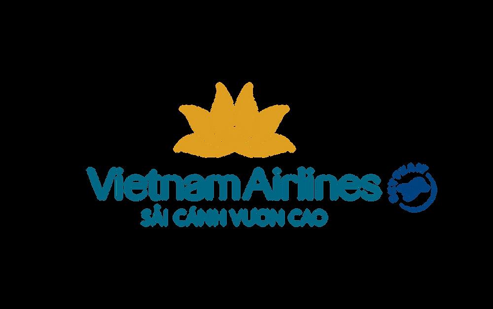 Logo Vietnam Airlines Slogan Sải cánh vươn cao - Bố cục dọc PNG
