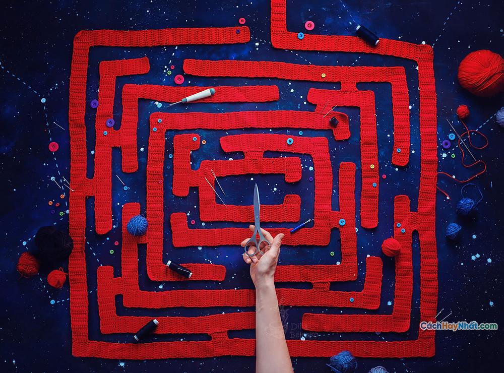 Ý tưởng quảng cáo nghệ thuật thực phẩm chế tác ảnh mê cung len bởi dina