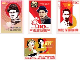 Download Poster Kỷ Niệm 110 Năm Bác Hồ Ra Đi Tìm Đường Cứu Nước File Vector Corel CDR