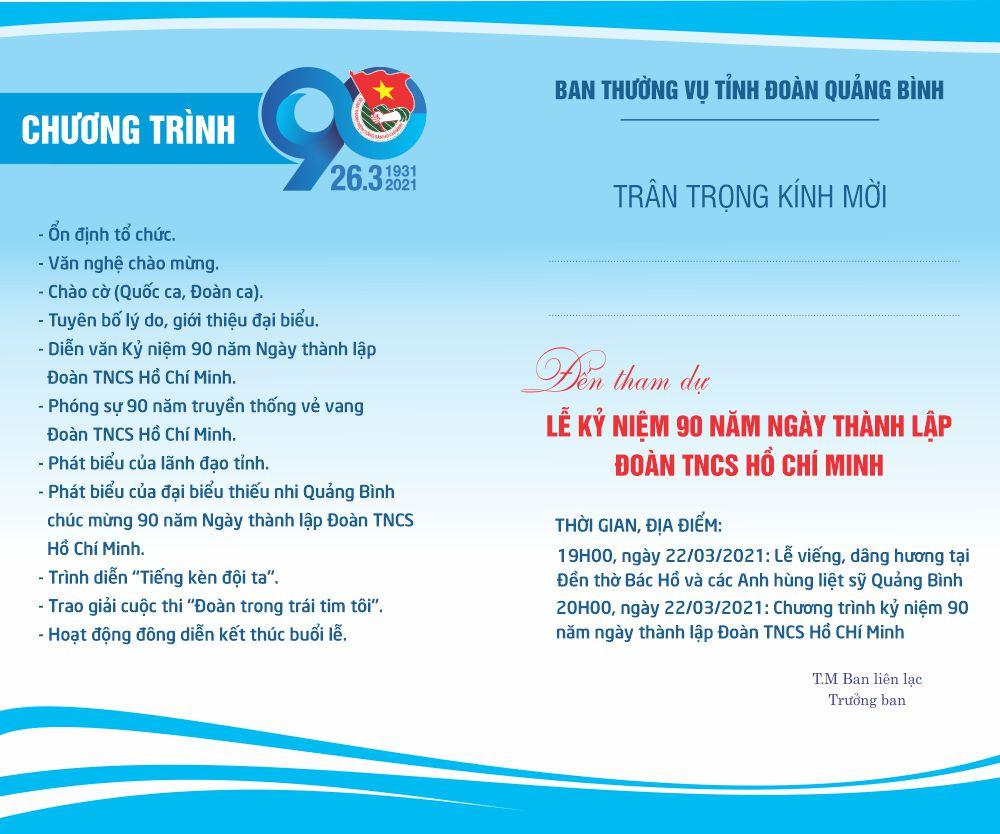 Giấy mời đoàn TNCS HCM 90 năm