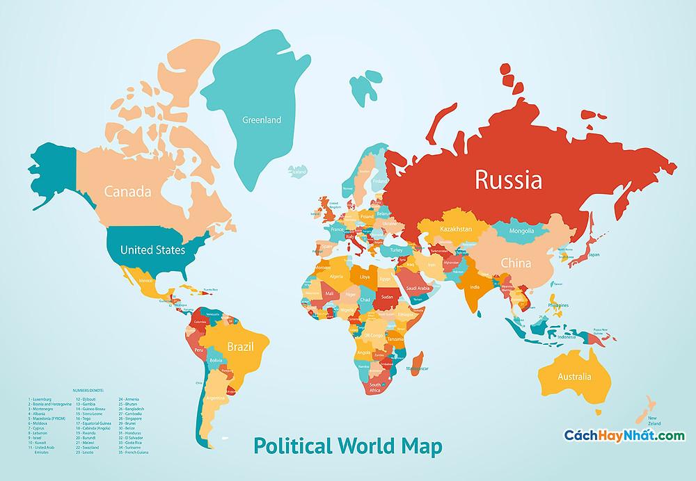 Bản Đồ Thế Giới earth map countries