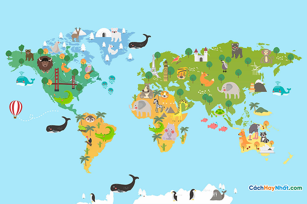 Bản Đồ Thế Giới animal world map