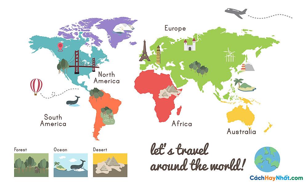 Bản Đồ Thế Giới let's travel around the world