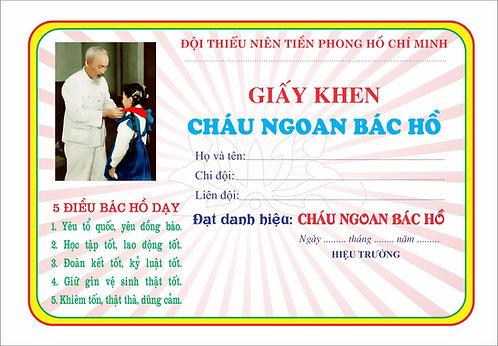 Mẫu Giấy Khen Cháu Ngoan Bác Hồ Certificate Of Merit to Uncle Ho Vector