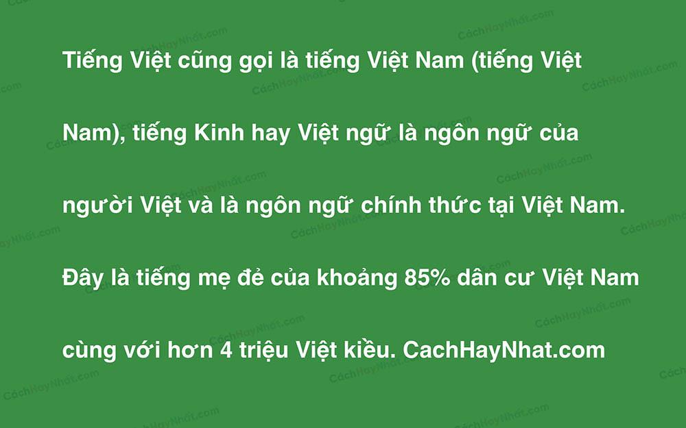 Đoạn văn bản mô tả font chữ Helvetica Việt hóa