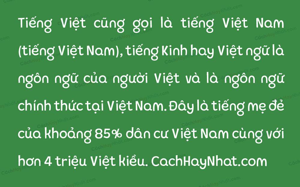 đoạn văn bản font SVN Pequena Neo Việt hóa