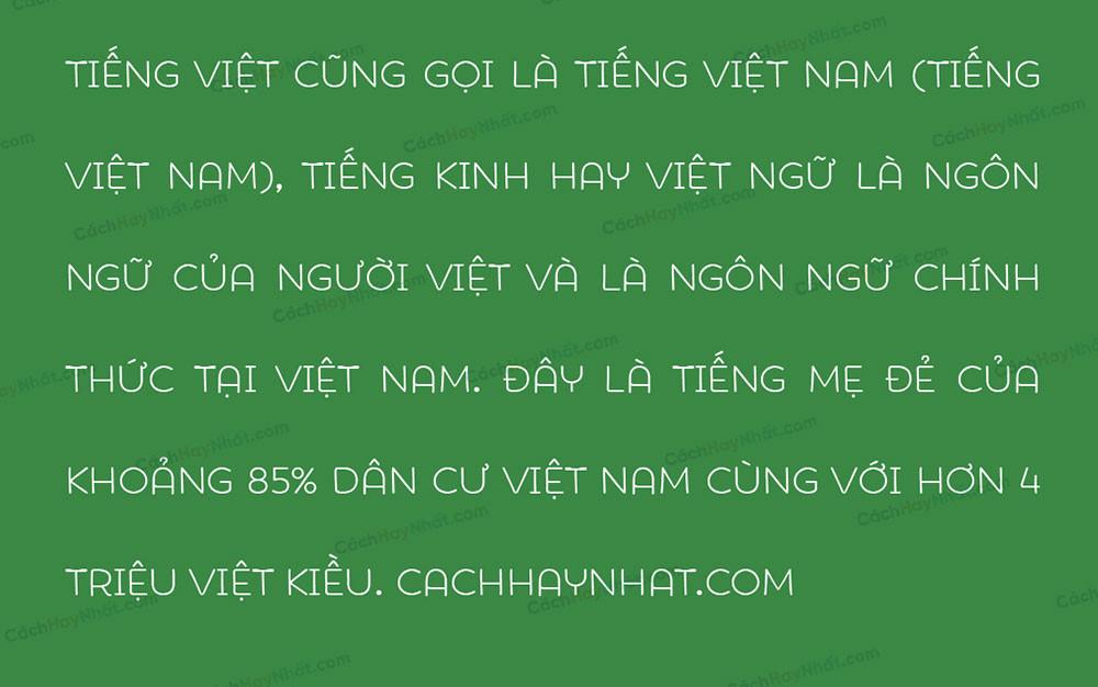 đoạn văn bản font SVN Showcase Family Việt hóa