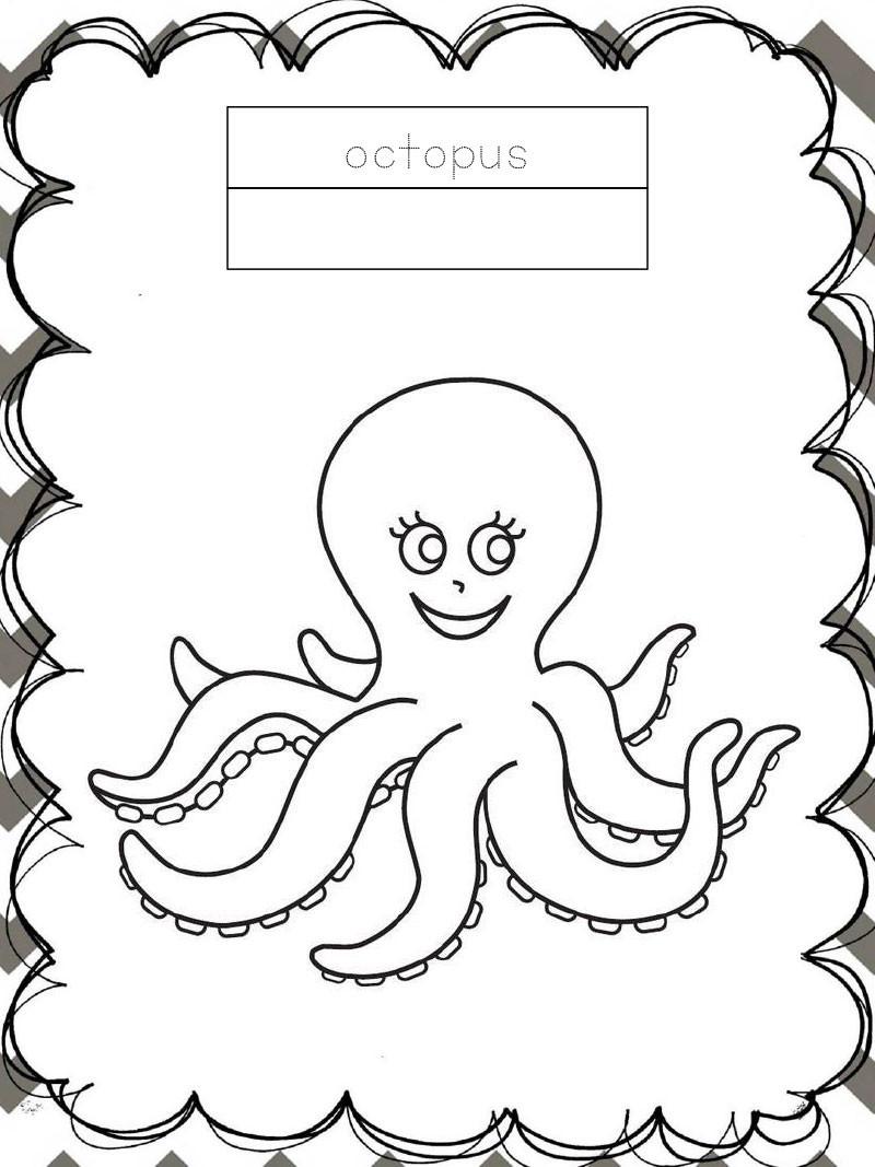 Tập tô màu động vật cho bé - con bạch tuộc - octopus