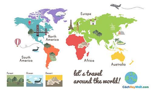 Bản Đồ Thế Giới Let's Travel Around The World Vector