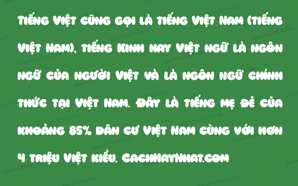 đoạn văn mô tả font SVN Ziclets Việt hóa