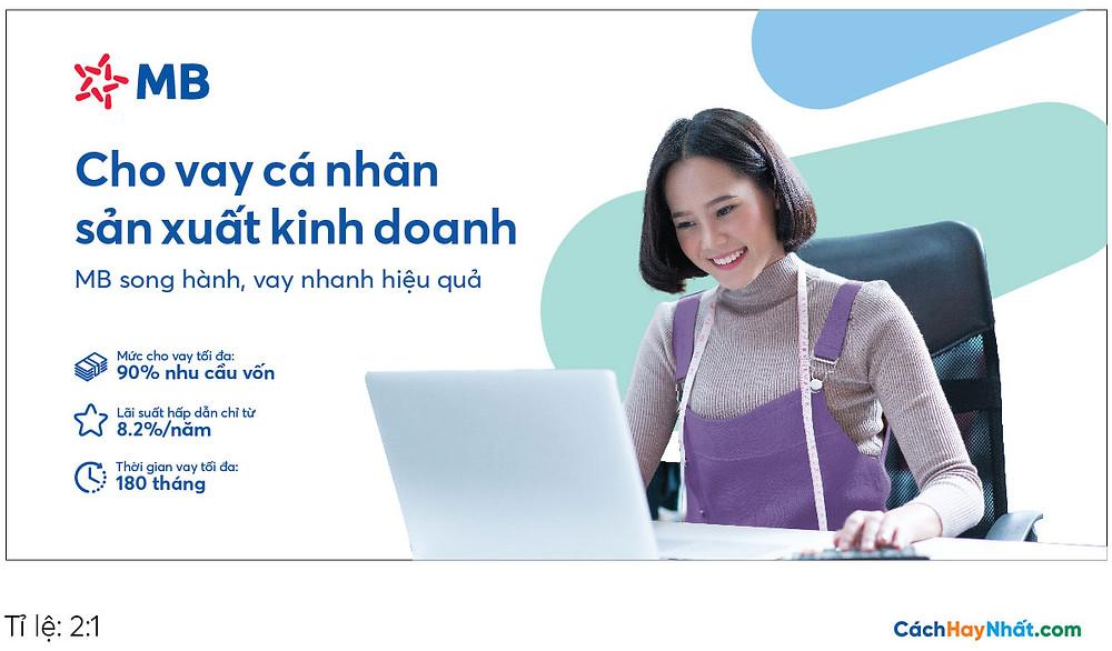 Pano Quảng Cáo Tấm lớn Cho vay Sản xuất Kinh doanh MBBank file Vector tỉ lệ 2-1
