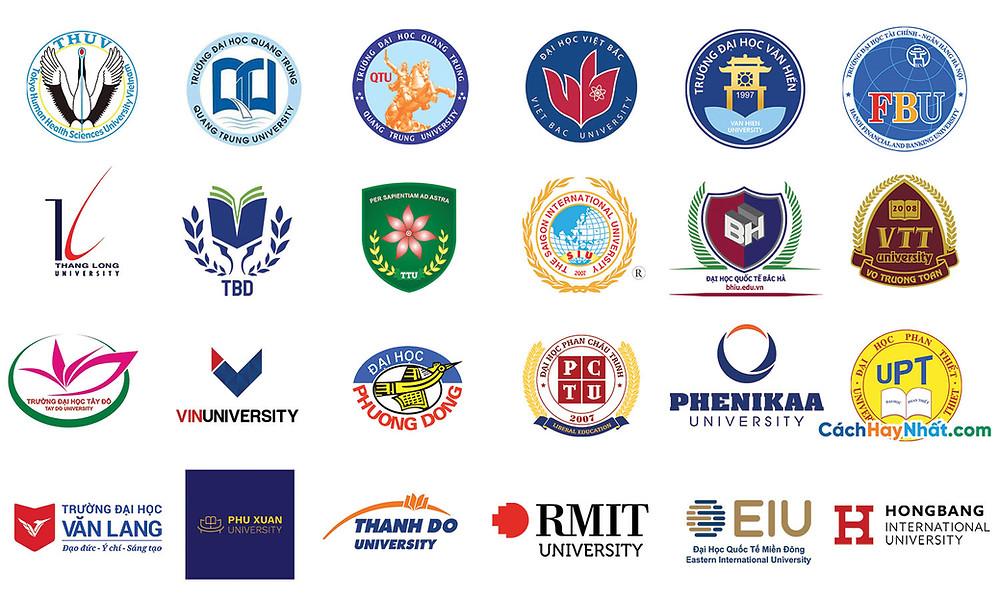 Tổng Hợp Logo Trường Đại Tư Thục Vector