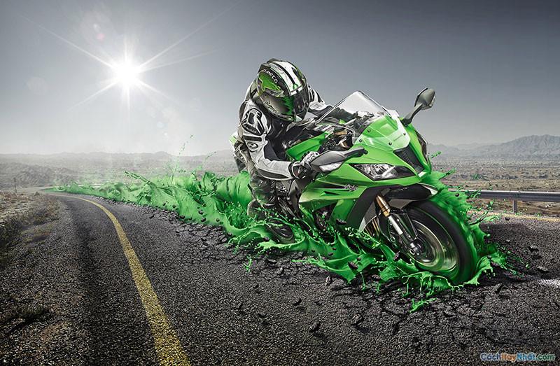 Hình ảnh chế tác đường xe đạp kawasaki quảng cáo của staudinger franke