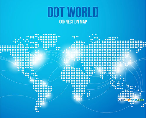 Bản Đồ Thế Giới Map Points World Connections Blue Background Vector