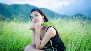 Ảnh gái xinh giữa đồng cỏ