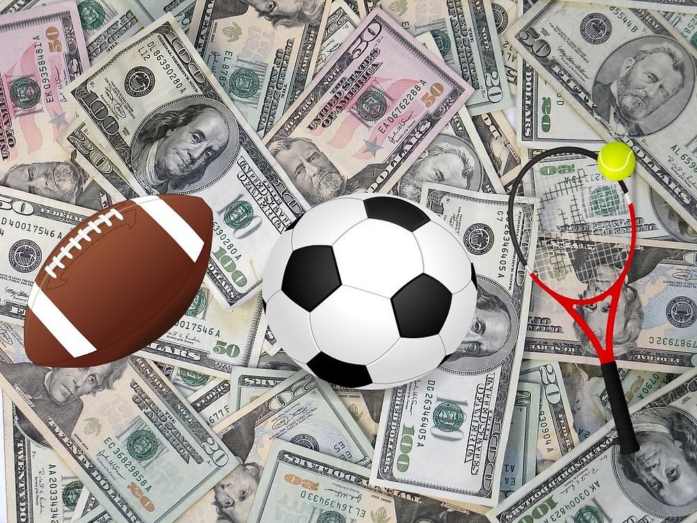 ảnh tiền đô la, quả bóng bầu dục, quả bóng đá, vợt tennis