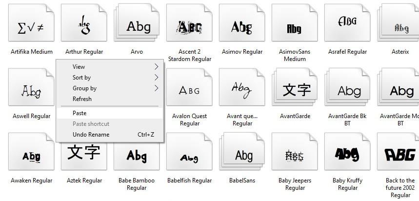 paste fonts
