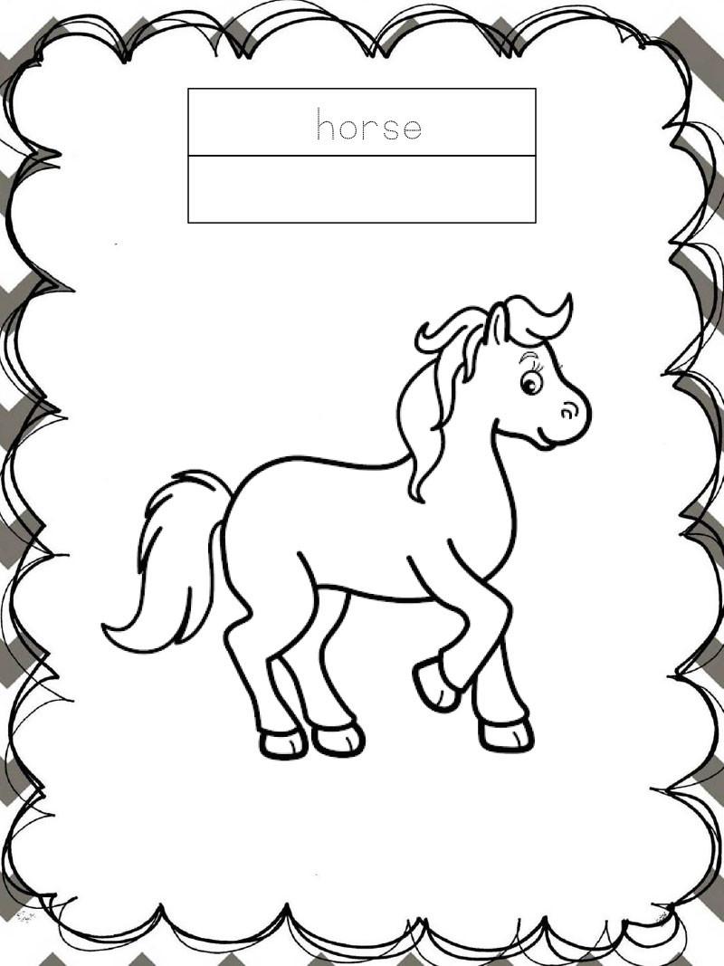 Tập tô màu động vật cho bé - Con ngựa - Horse