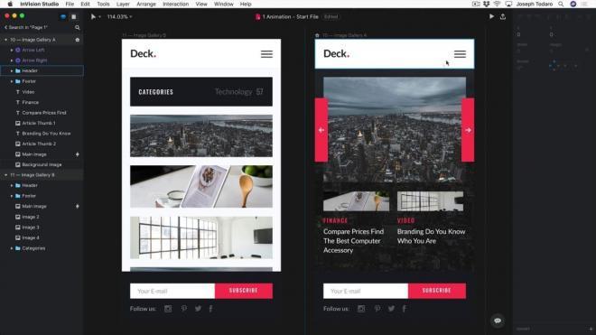 Công cụ tạo trang web tốt nhất Invision studio