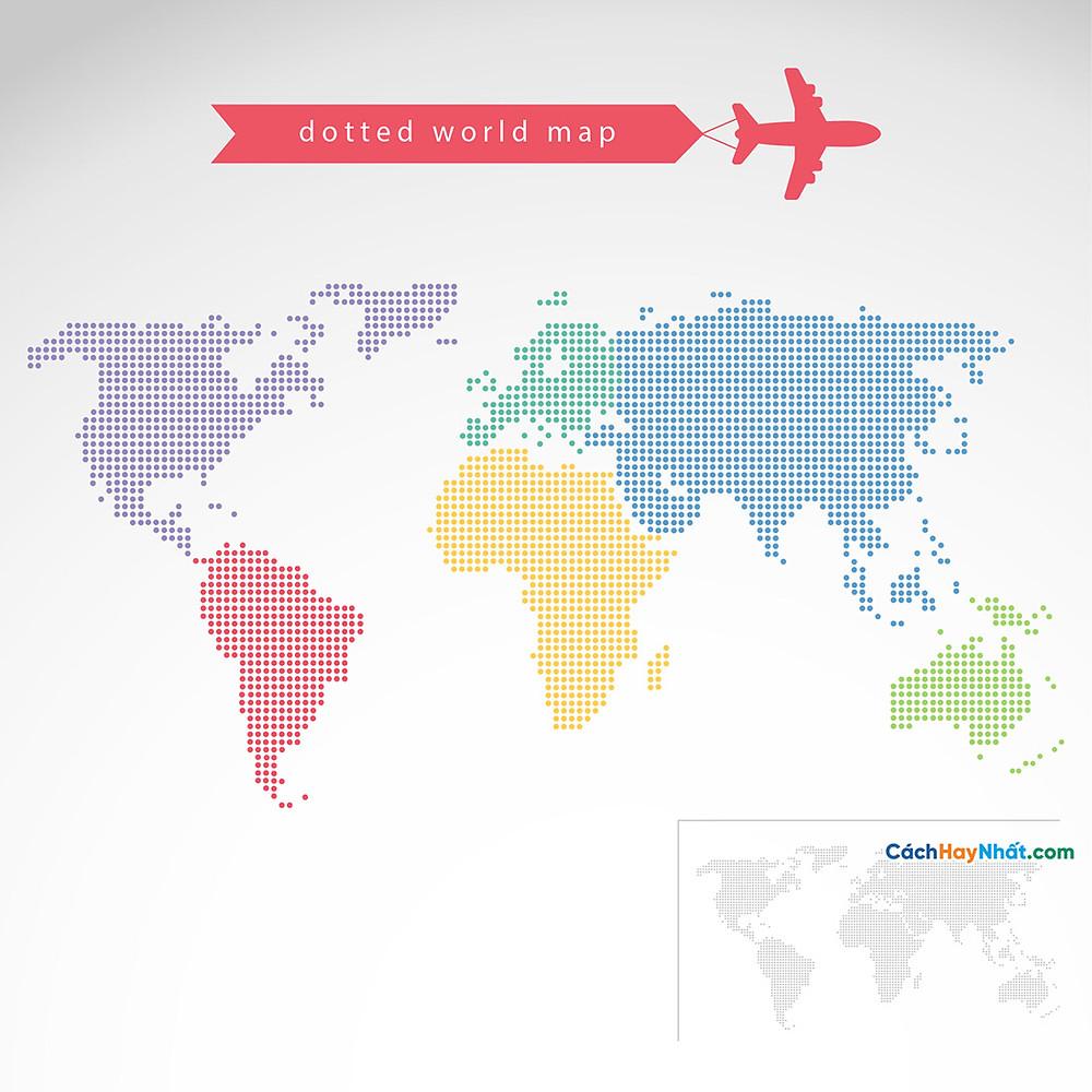 Bản Đồ Thế Giới dotted world map