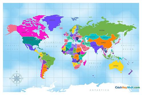 Bản Đồ Thế Giới Flat Design Colorful Political World Map Vector