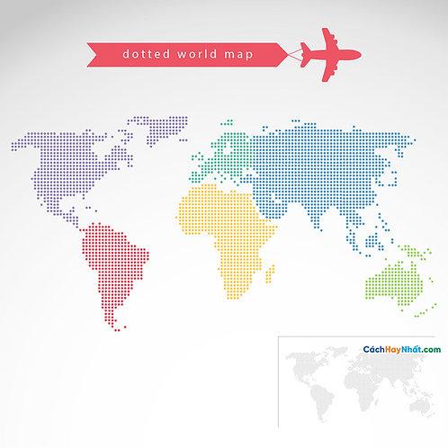 Bản Đồ Thế Giới Dotted World Map Vector
