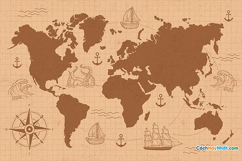 Bản Đồ Thế Giới Drawing Concept For Vintage World Map Vector