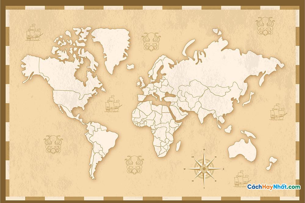 Bản Đồ Thế Giới detailed vintage world map design