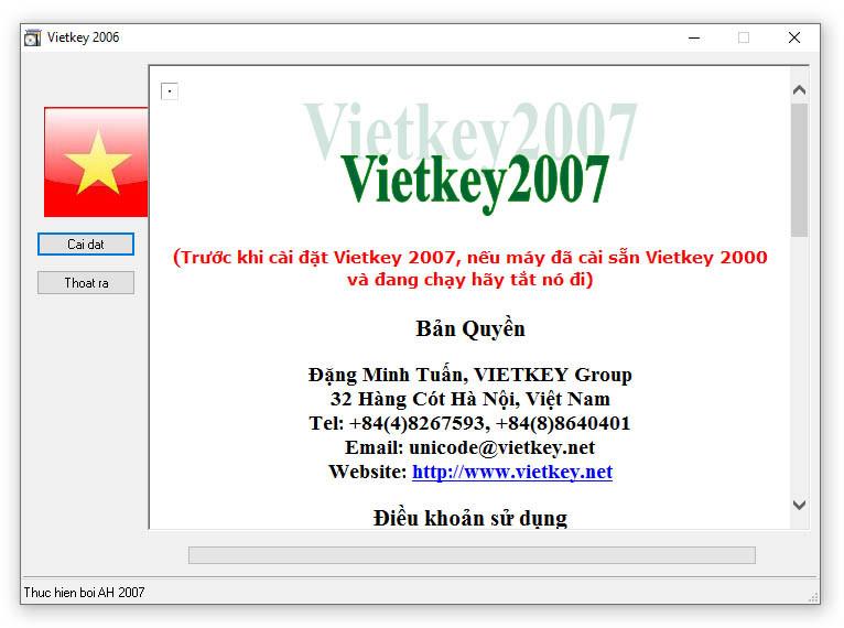 giao diện cài đặt VietKey 2007