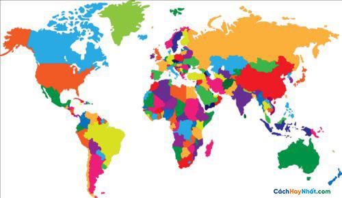 Bản Đồ Thế Giới Simple color world map vector