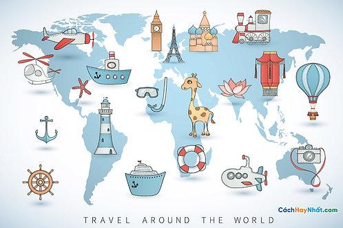 Bản Đồ Thế Giới Travel Around The World Vector