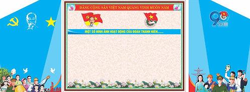 Phông Sân Khấu Đại Hội Đoàn TNCS Hồ Chính Minh 90 Năm Vector Corel CDR