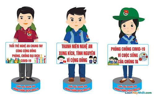 File Mockup Đoàn Thanh Niên Chibi COVID-19 Vector Corel