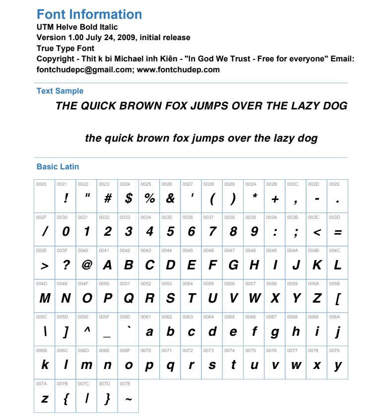 Font UTM Helve Bold Italic