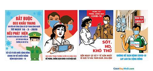 Poster Pano Tuyên Truyền COVID-19 Vector Corel