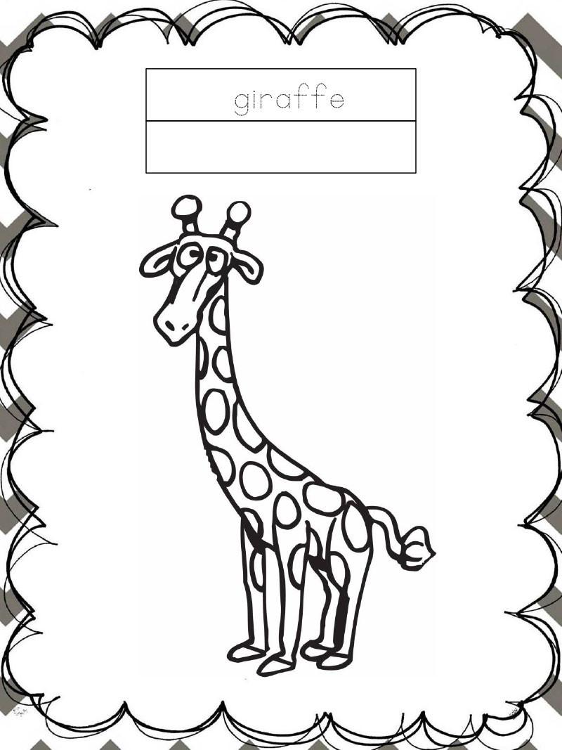 Tập tô màu động vật cho bé - con hươu cao cổ - giraffe