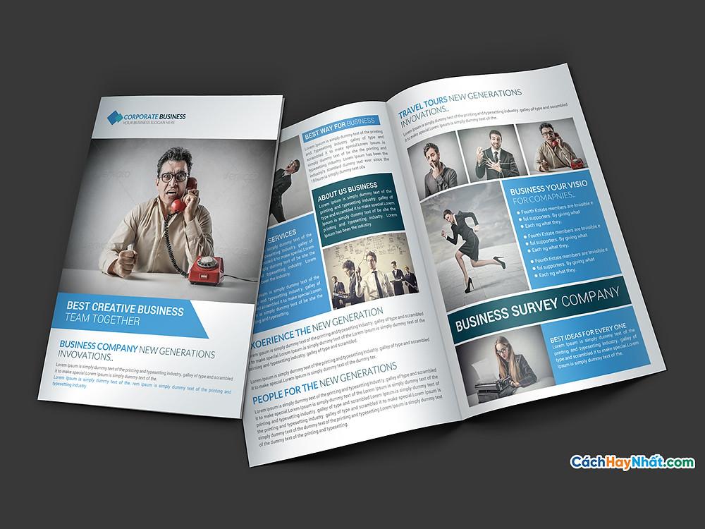 File Bifold Brochures Templates PSD AI