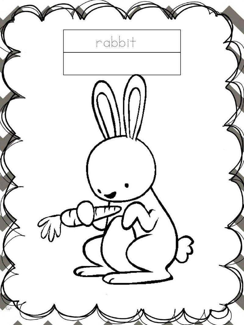Tập tô màu động vật cho bé - con thỏ - rabbit