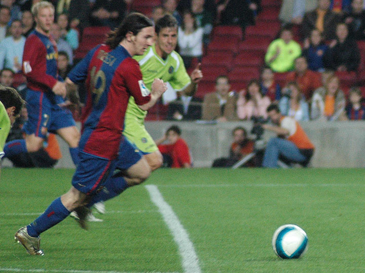 Messi ngay trước khi ghi bàn trong trận gặp Getafe