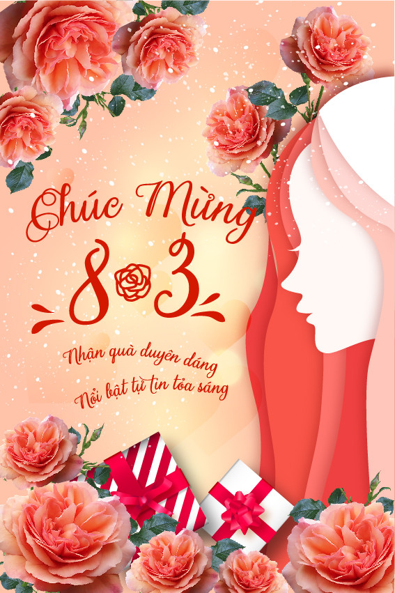 Poster Phông Quốc Tế Phụ Nữ 8/3 File Vector Ai PSD
