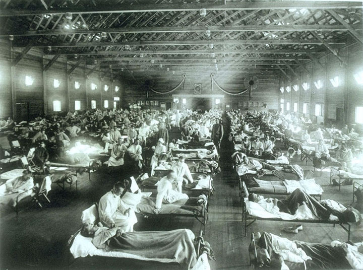 Lính Mỹ ở Trại Funston (Kansas) bị bệnh cúm Tây Ban Nha năm 1918