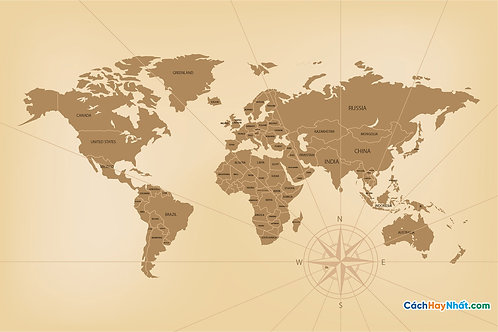 Bản Đồ Thế Giới Detailed Vintage World Map Concept Vector