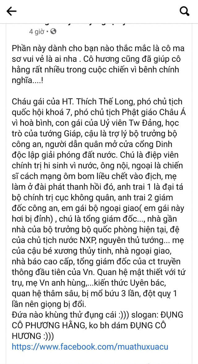 Ma sơ vui vẻ Nguyễn Thị Thu Hương là ai?