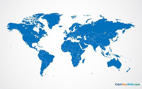 Bản Đồ Thế Giới Blue World Map Vector