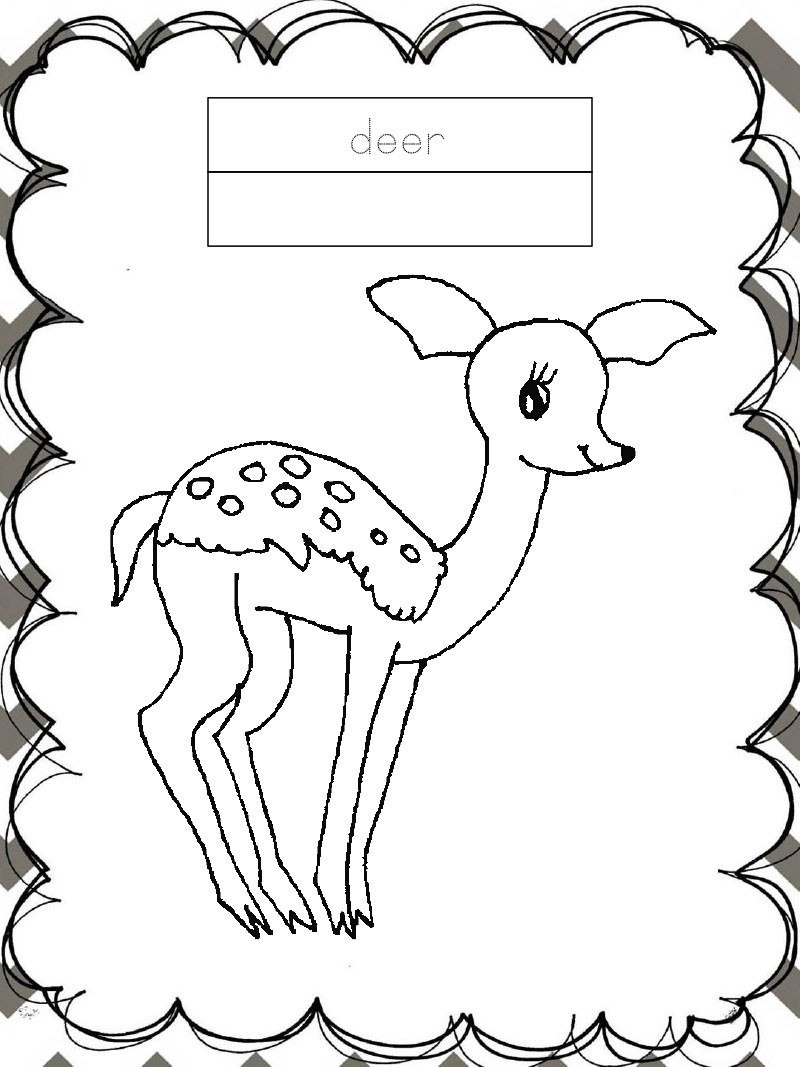 Tập tô màu động vật cho bé - con nai - deer