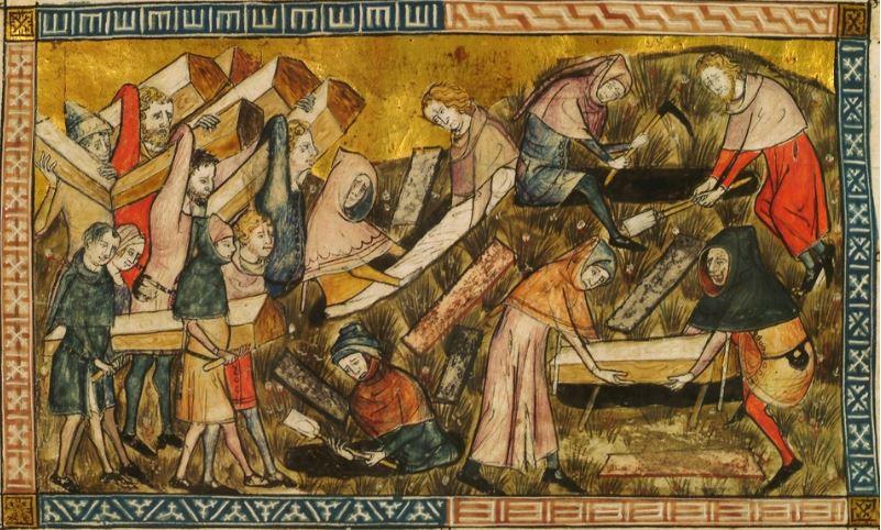 Mô tả một bức tranh thu nhỏ từ thế kỷ 14 cho thấy người dân Toumai (Bỉ ngày nay) đang chôn cất các nạn nhân của bệnh dịch Cái chết Đen