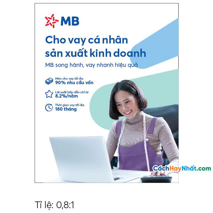Pano Quảng Cáo Tấm lớn Cho vay Sản xuất Kinh doanh MBBank file Vector tỉ lệ 0,8-1