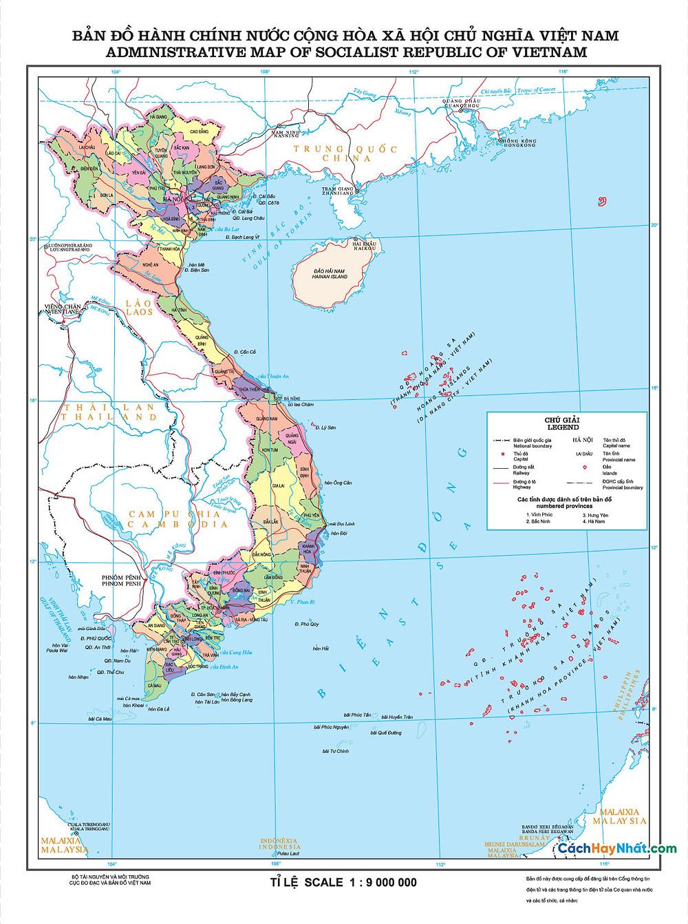 Bản đồ hành chính Việt Nam 2017 chuẩn - 63 tỉnh thành trên cả nước