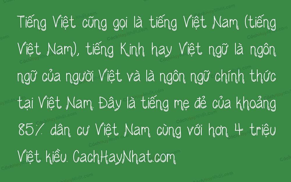 đoạn văn bản font SVN Wednesday Việt hóa