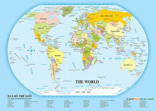 Bản Đồ Thế Giới Tiếng Việt World Map Vietnamese Vector